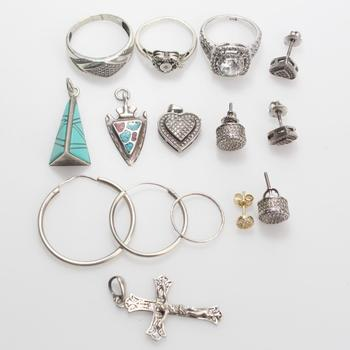30.39g Silver Jewelry, 15 Pieces
