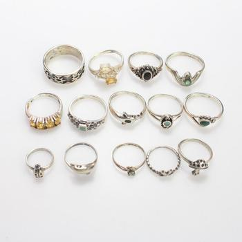 31.04g Silver Rings, 14 Pieces
