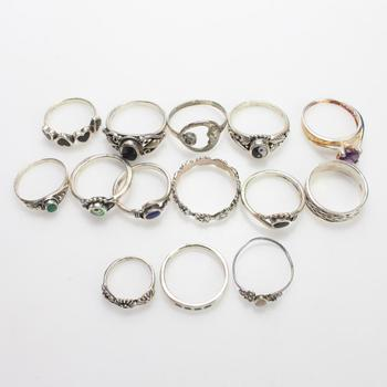 31.8g Silver Rings, 14 Pieces