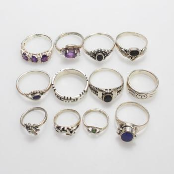 32.65g Silver Rings, 12 Pieces