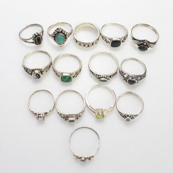 32.72g Silver Rings, 14 Pieces