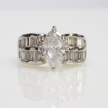 3.27ct TW Diamond Platinum And 14k Gold Ring - Evaluated By Independent Specialist