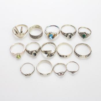 33.11g Silver Rings, 14 Pieces