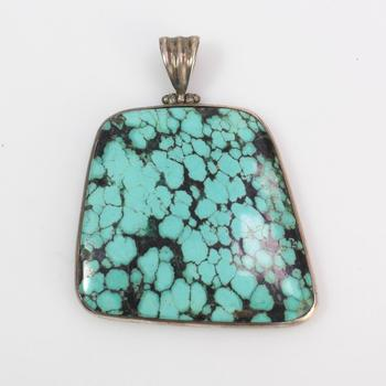 34.61g Silver And Turquoise Pendant