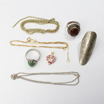 35.05g .800-.900 Silver Jewelry, 7 Pieces