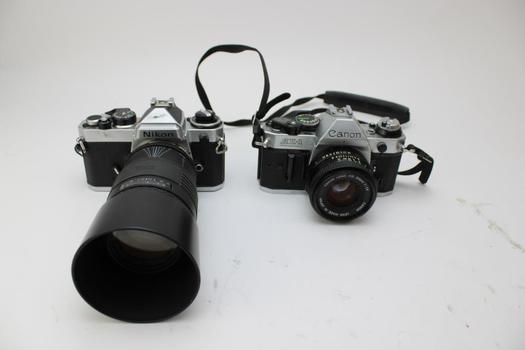 35mm SLR Cameras: Nikon, Canon AE-1: 2 Items
