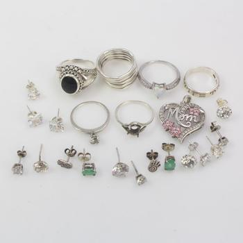 37.20g Silver Jewelry, 23 Pieces