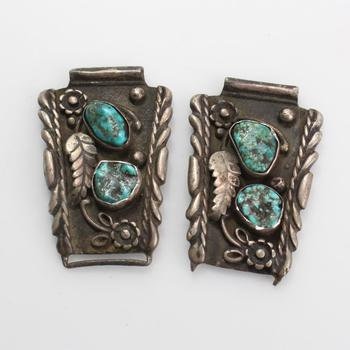 37.28g Silver Watch Tips With Blue-Green Stones