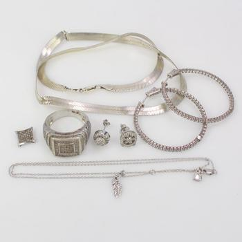 38.48g Silver Jewelry, 8 Pieces