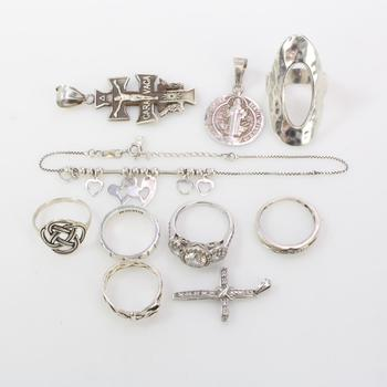 38g Silver Jewelry, 10 Pieces