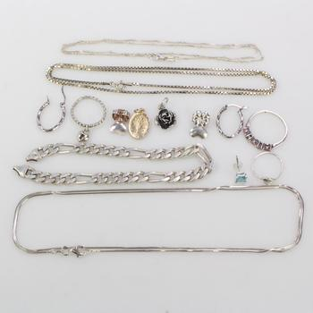 38g Silver Jewelry, 14 Pieces