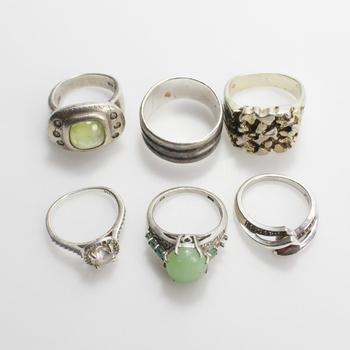 38g Silver Rings, 6 Pieces