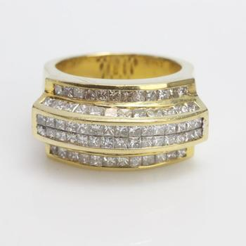 3.90ct TW Diamond 14k Gold Ring - Evaluated By Independent Specialist