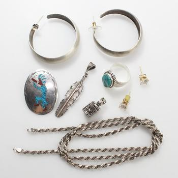56.5g Silver Jewelry, 9 Pieces