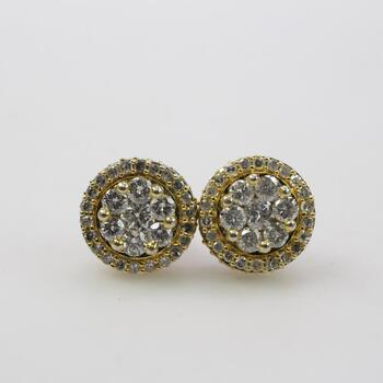 .75ct TW Diamond 10k Gold Stud Earrings