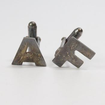 """7g Silver """"A"""" And """"F"""" Cuff Links"""