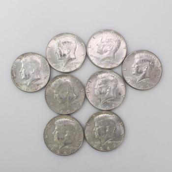 8 Silver Clad Half Kennedy Dollars