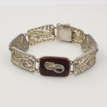 .800 Silver Filigree Panel Red Stone Bracelet