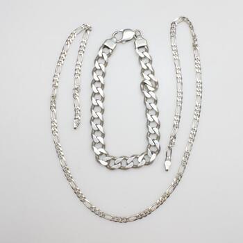 .800-.900 Silver Jewelry, 2 Pieces