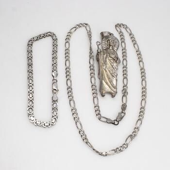 .800-.900 Silver Jewelry, 3 Pieces