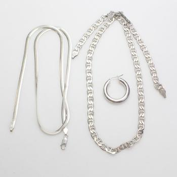 .800-.900 Silver Jewelry, 3 Pieces, 36.87g