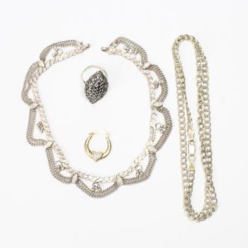 .800-.900 Silver Jewelry, 4 Pieces