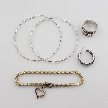 .800-.900 Silver Jewelry, 5 Pieces