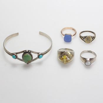 .800-.900 Silver Jewelry, 5 Pieces, 30.70g