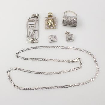 .800-.900 Silver Jewelry, 6 Pieces