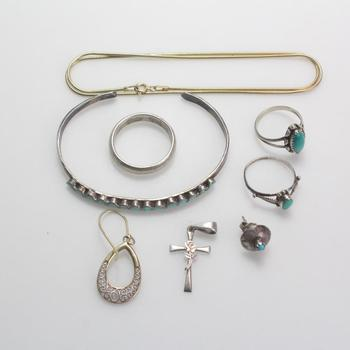 .800-.900 Silver Jewelry, 8 Pieces, 22.08g