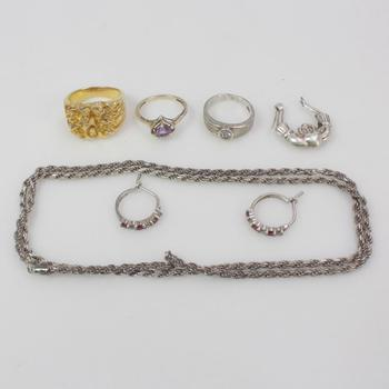 .800-.900 Silver Jewelry, 8 Pieces, 37.82g