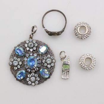 80%-90% Silver Jewelry, 5 Pieces