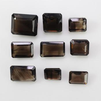 9 Loose Emerald-cut Brown Stones