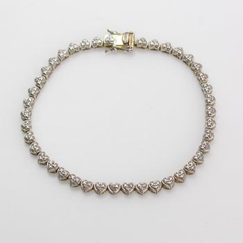 .900 Silver 9.9g Bracelet With Diamonds