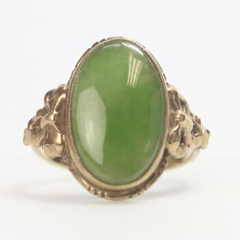 9kt Gold 3.73g Ring With Green Stone