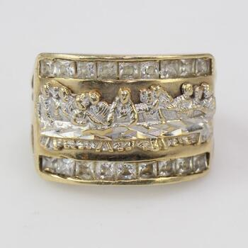 9kt Gold 5.89g Religious Ring With Clear Stones