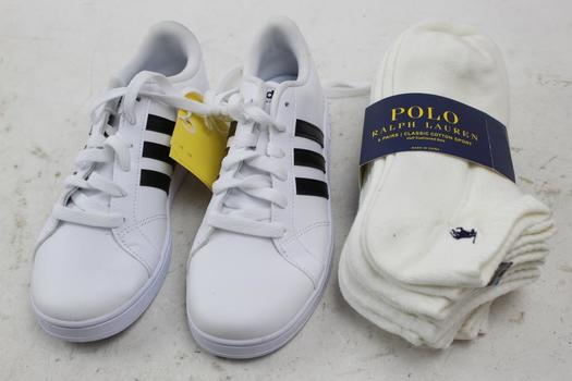 Adidas Mens Shoes, Size 5, And Ralph Lauren Socks, 2 Pieces