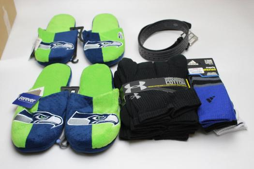 Adidas, Under Armour Socks, Seattle Seahawks Slippers+ More 5 Pieces