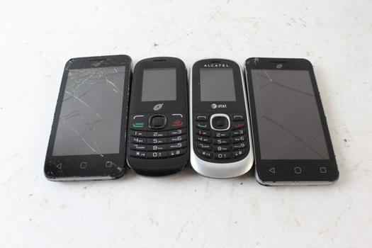 Alcatel Cell Phone Lot, 4 Pieces, Sold For Parts