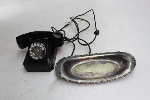 Antique Stromberg-carlson Rotary Telephone And Borham Co. Dish, 2 Pieces