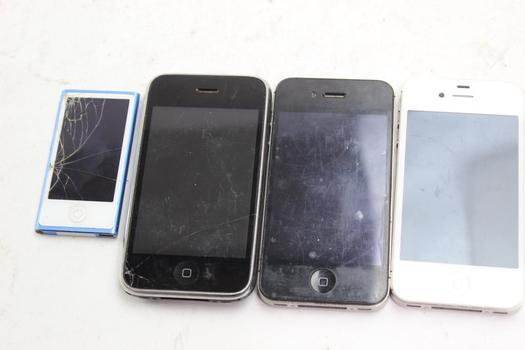 Apple Cell Phone And IPod Lot, 4 Pieces, Sold For Parts