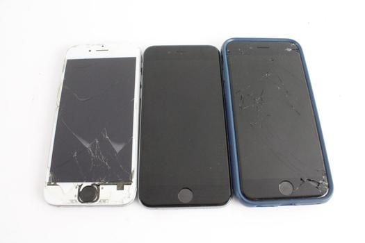 Apple Cell Phone Lot, 3 Pieces, Sold For Parts