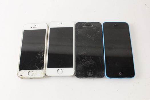 Apple Cell Phone Lot, 4 Pieces, Sold For Parts