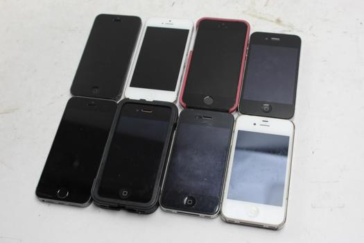 Apple Cell Phone Lot, 8  Pieces, Sold For Parts