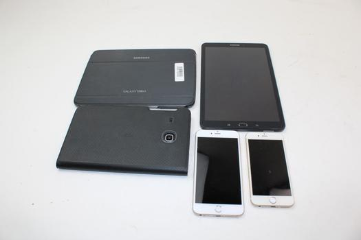 Apple Iphones & Assorted Samsung Tablets; 5 Pieces