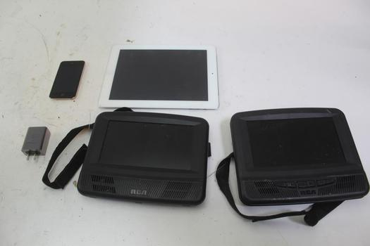 Apple Ipod, Apple Ipad, Rca Portable Dvd Player W/2nd Monitor, & More; 5+ Pieces