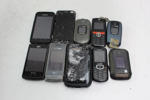 Apple, Lg, Kyocera+ More Cell Phone Lot,  10 Pieces, Sold For Parts