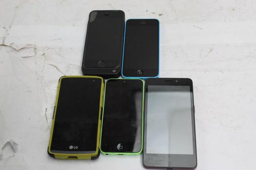 Apple, Lg, Zte Cell Phone Lot, 5 Pieces, Sold For Parts