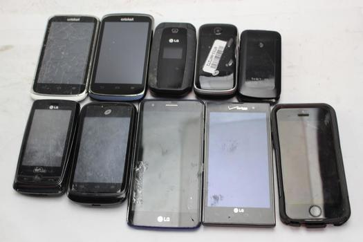 Apple, Lg, Zte+ More Cell Phone Lot, 10  Pieces, Sold For Parts