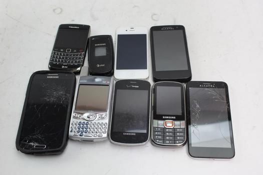 Apple, Samsung, Alcatel+ More Cell Phone Lot, 9  Pieces, Sold For Parts